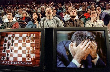 Chess enthusiasts watch World Chess champion Garry