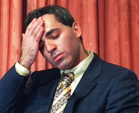 World Chess Champion Garry Kasparov looks dejected
