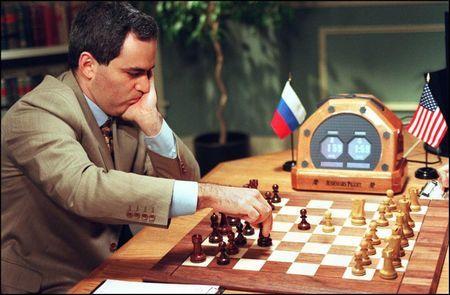 World Chess Champion Garry Kasparov moves a knight