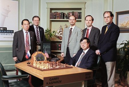 The IBM Deep Blue chess computer team poses in the