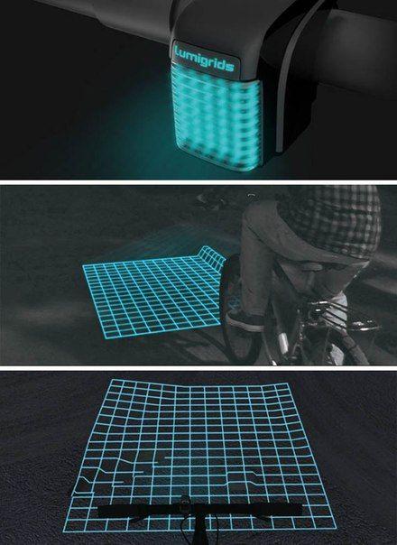 Світлодіодний проектор для велосипеда, що дозволяє побачити ями на дорозі