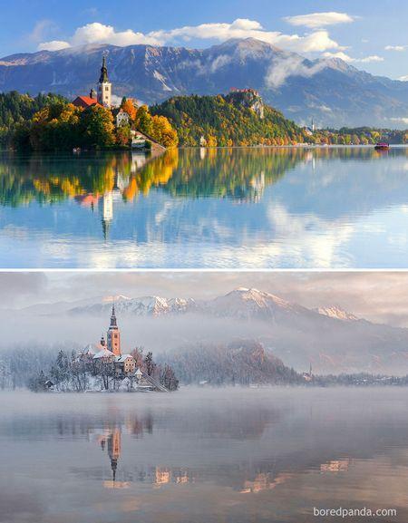 Чарівні знімки мальовничих місць до і під час зими